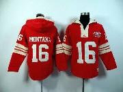 Mens Nfl San Francisco 49ers #16 Montana Red (2015 Team) Hoodie Jersey