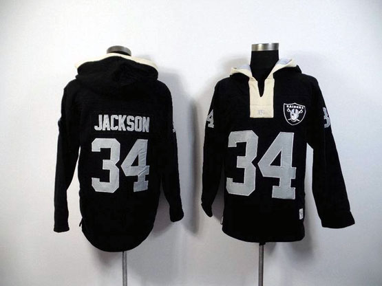 Mens Nfl Oakland Raiders #34 Jackson Black (2015 Team) Hoodie Jersey
