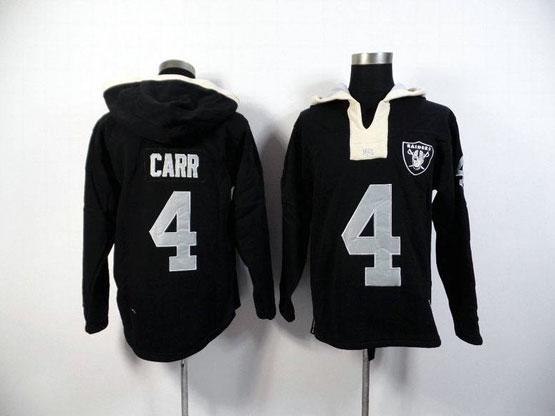 mens nfl Oakland Raiders #4 Derek Carr black (2015 team) hoodie jersey