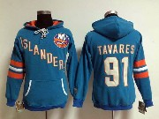 Women Nhl New York Islanders #91 Tavares Blue Hoodie Jersey