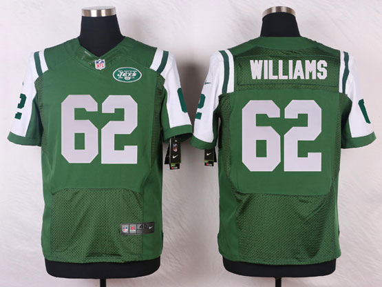 Mens Nfl New York Jets #62 Williams Green Elite Jersey