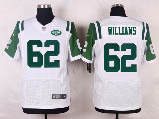Mens Nfl New York Jets #62 Williams White Elite Jersey