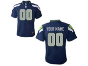Youth Nfl Seattle Seahawks (custom Made) Dark Blue Game Jersey