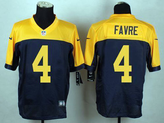 Mens Nfl Green Bay Packers #4 Favre Blue&yellow Elite Jersey