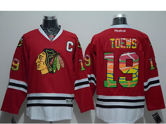 Mens reebok nhl chicago blackhawks #19 toews red c patch (print fabric) Jersey