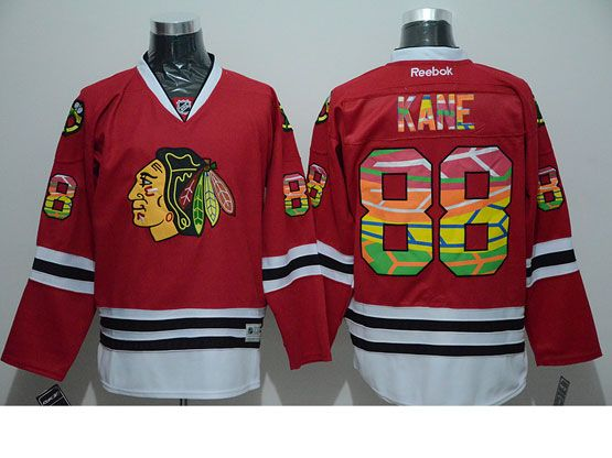 Mens reebok nhl chicago blackhawks #88 kane red c patch (print fabric) Jersey