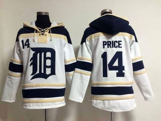 Mens Mlb Detroit Tigers #14 Price White Hoodie Jersey