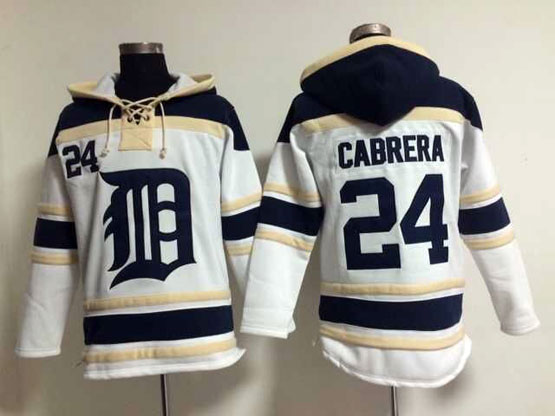 Mens Mlb Detroit Tigers #24 Cabrera White Hoodie Jersey