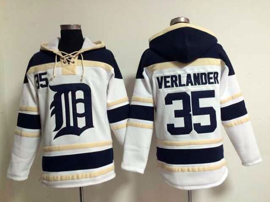 Mens Mlb Detroit Tigers #35 Verlander White Hoodie Jersey