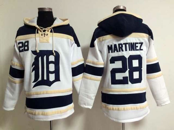 Mens Mlb Detroit Tigers #28 Martinez White Hoodie Jersey