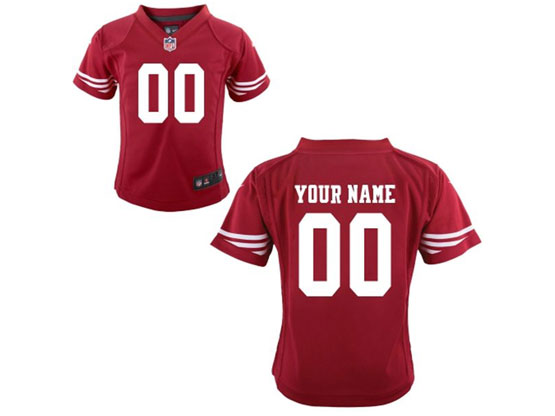 Kids Nfl San Francisco 49ers (custom Made) Red Game Jersey