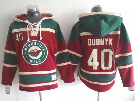 Mens Reebok Nhl Minnesota Wild #40 Dubnyk Red Hoodie Jersey