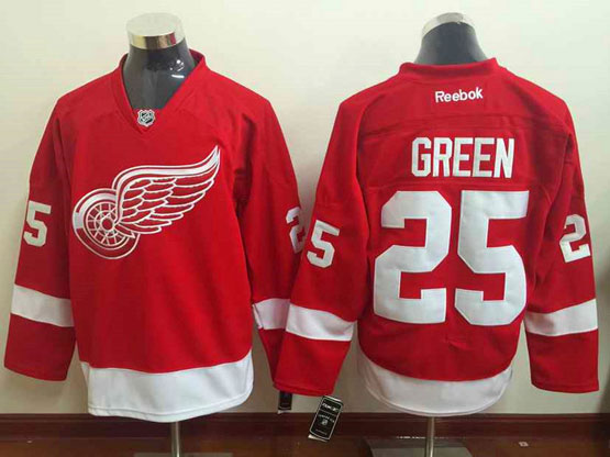 Mens Reebok Nhl Detroit Red Wings #25 Green Red Jersey