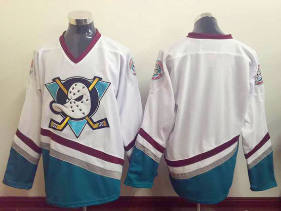 Mens Nhl Anaheim Mighty Ducks (blank) White Throwbacks Jersey