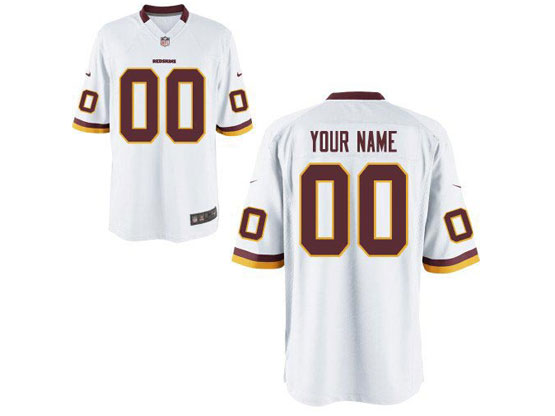 Mens Womens Youth Nfl Washington Redskins (custom Made) White Game Jersey