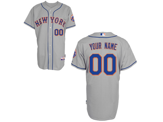 Mens Womens Youth Mlb New York Mets Custom Made Gray Cool Base Jersey