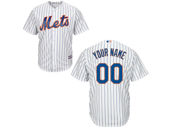 Mens Majestic New York Mets White Stripe Cool Base Jersey
