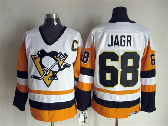 Mens Nhl Pittsburgh Penguins #68 Jagr White&orange C Patch Throwbacks Jersey