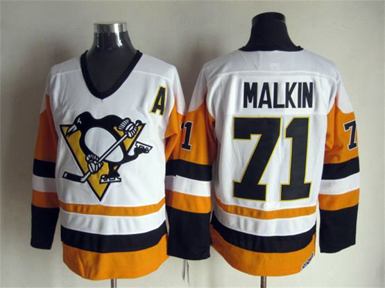 Mens Nhl Pittsburgh Penguins #71 Malkin White&orange A Patch Throwbacks Jersey