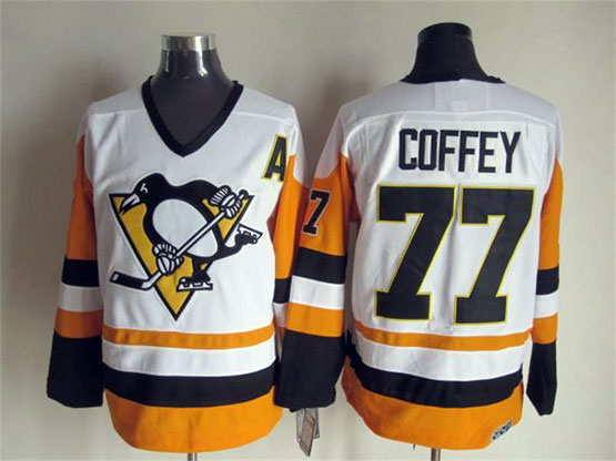 Mens Nhl Pittsburgh Penguins #77 Coffey White&orange A Patch Throwbacks Jersey