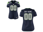 Women Nfl Seattle Seahawks (custom Made) Dark Blue Game Jersey