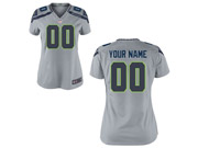 Women Nfl Seattle Seahawks (custom Made) Gray Game Jersey