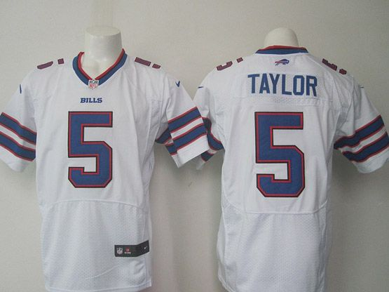 mens nfl Buffalo Bills #5 Tyrod Taylor white elite jersey