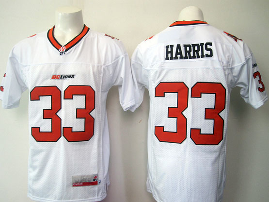 Mens Cfl British Columbia Lions #33 Harris White Jersey