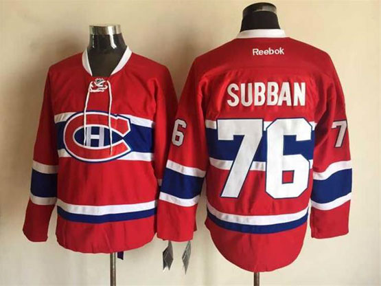 Mens Reebok Nhl Montreal Canadiens #76 Subban Red (ch) Lacing Jersey