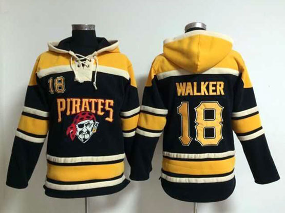 Mens Mlb Pittsburgh Pirates #18 Walker Black Hoodie Jersey