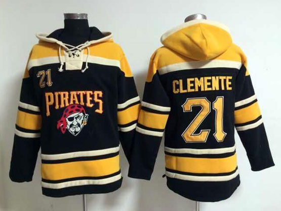 Mens Mlb Pittsburgh Pirates #21 Roberto Clemente Black Hoodie Jersey