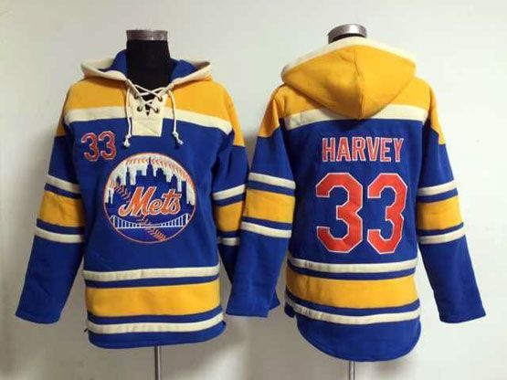 Mens Mlb New York Mets #33 Harvey Blue Hoodie Jersey