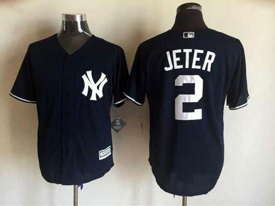 Mens Mlb New York Yankees #2 Jeter Drak Blue Jersey
