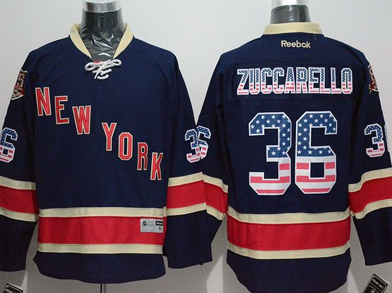 Mens Reebok Nhl New York Rangers #36 Zuccarello Dark Blue 85th (usa Flag Fashion) Jersey