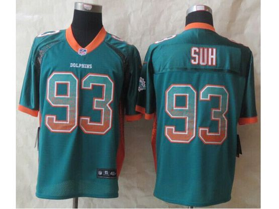 Mens Nfl Miami Dolphins #93 Suh Green Drift Fashion Elite Jersey