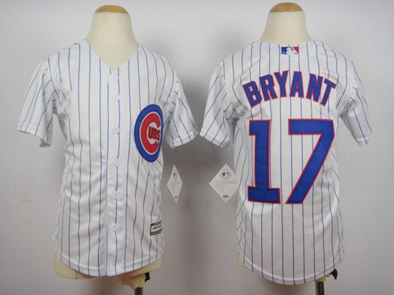 Youth Majestic Chicago Cubs #17 Kris Bryant White Official 2015 Cool Base Player Jersey