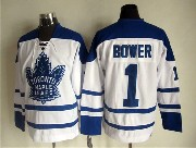 Mens Nhl Toronto Maple Leafs #1 Bower White Throwbacks 3rd Jersey