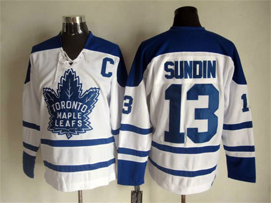 Mens Nhl Toronto Maple Leafs #13 Sundin White Throwbacks 3rd Jersey
