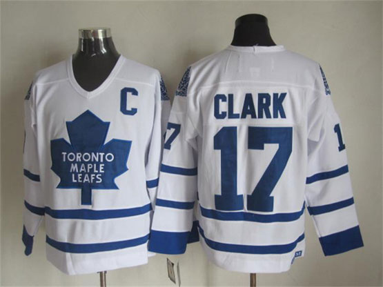 Mens Nhl Toronto Maple Leafs #17 Clark Full White Throwbacks Jersey