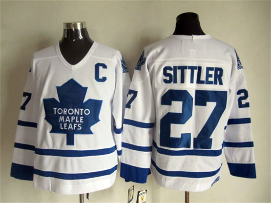Mens Nhl Toronto Maple Leafs #27 Sittler Full White Throwbacks Jersey