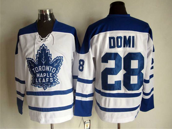 Mens Nhl Toronto Maple Leafs #28 Domi White Throwbacks 3rd Jersey