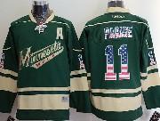 Mens Reebok Nhl Minnesota Wild #11 Parise Green (usa Flag Fashion) A Patch Jersey