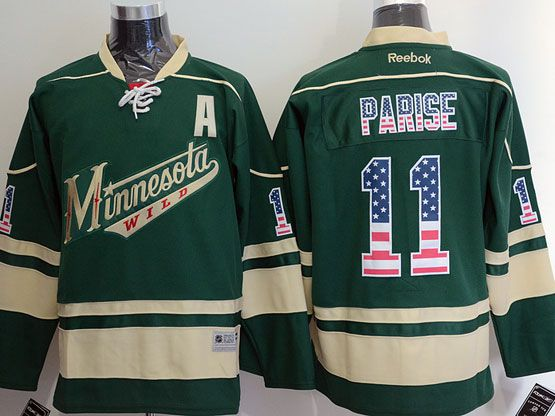 Mens Reebok Nhl Minnesota Wild #11 Parise Green (usa Flag Fashion) A Patch Jersey