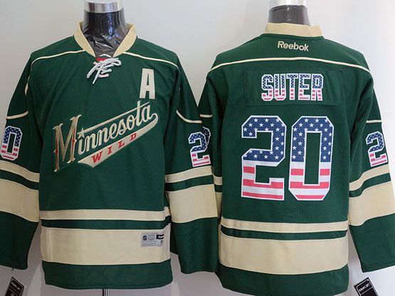 Mens Reebok Nhl Minnesota Wild #20 Suter Green (usa Flag Fashion) A Patch Jersey