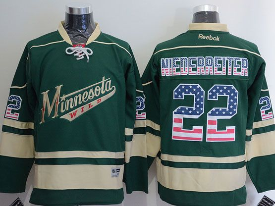 Mens Reebok Nhl Minnesota Wild #22 Niederreiter Green (usa Flag Fashion) Jersey