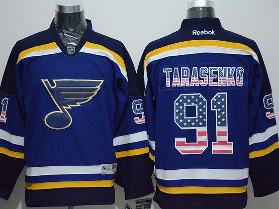 Mens Reebok Nhl St.louis Blues #91 Tarasenko Blue (usa Flag Fashion) Jersey