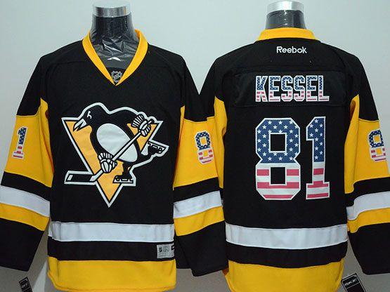 Mens Reebok Nhl Pittsburgh Penguins #81 Kessel Black (usa Flag Fashion) Jersey