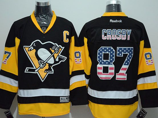 Mens Reebok Nhl Pittsburgh Penguins #87 Crosby Black (usa Flag Fashion) Jersey