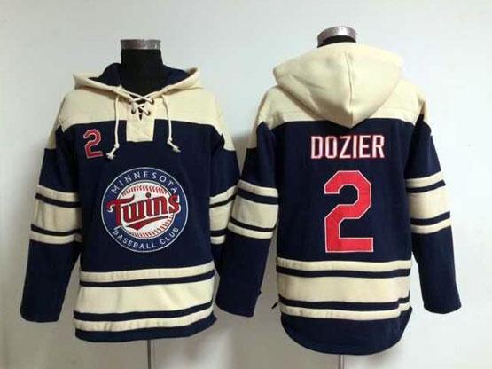 Mens Mlb Minnesota Twins #2 Dozier Blue Hoodie Jersey