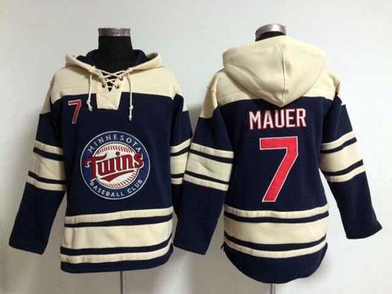 Mens Mlb Minnesota Twins #7 Mauer Blue Hoodie Jersey